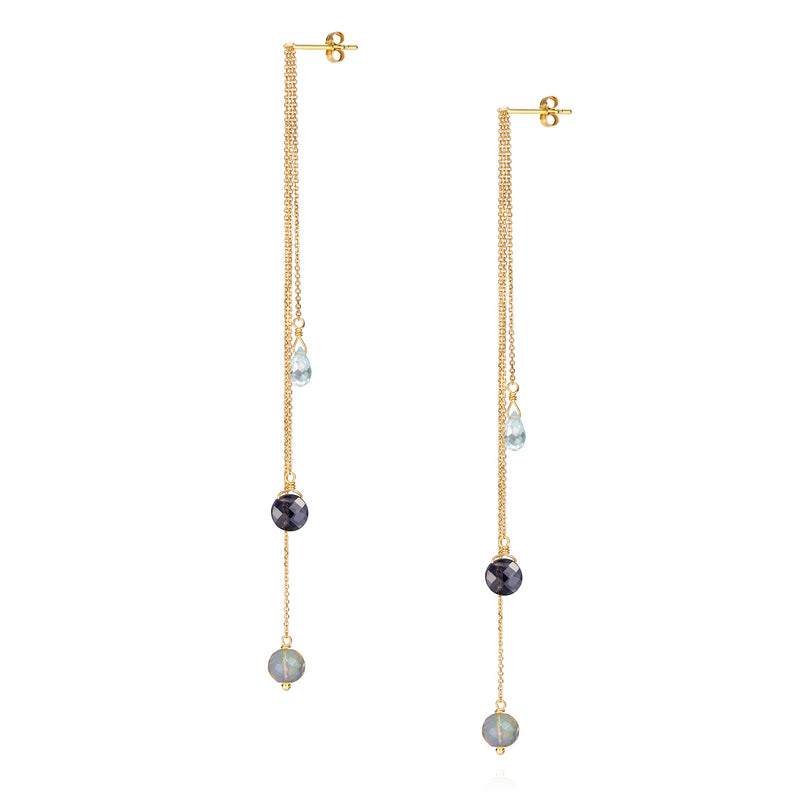 18 CT EARRINGS WITH HANGING CHAINS AND IOLITE AMETHYST AND BLUE TOPAZ DROPS