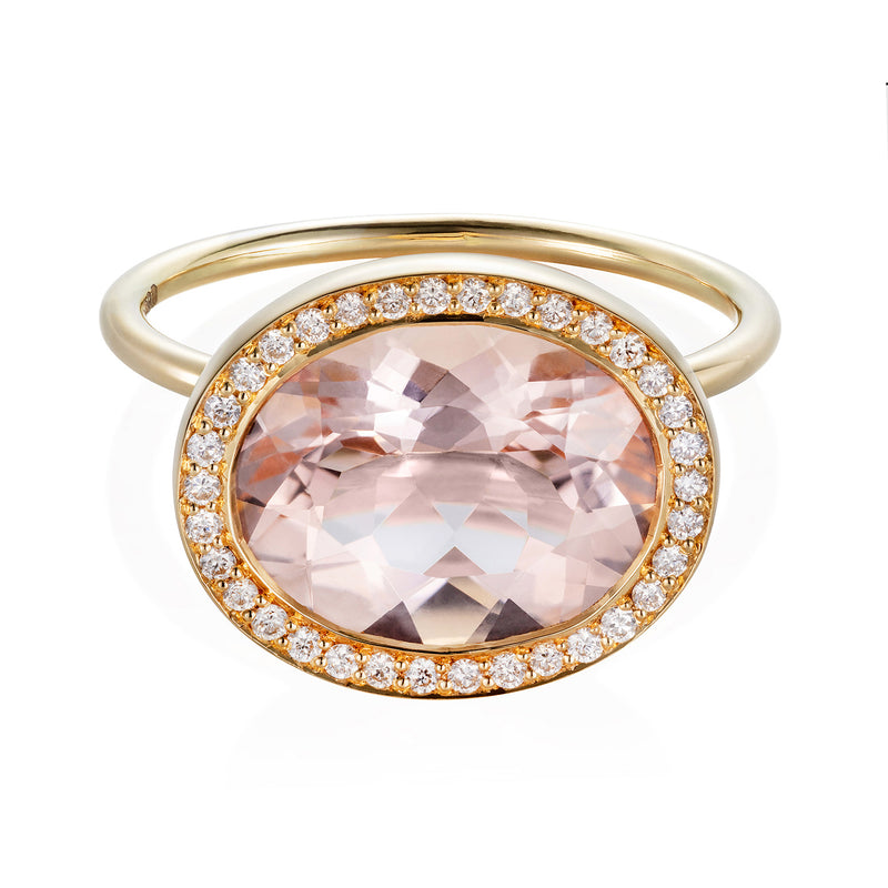 Peach Sapphire with Diamond Surround Ring