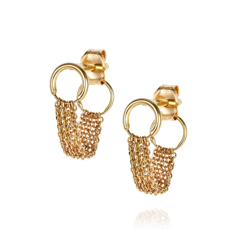 18 CT YELLOW GOLD STUDS WITH LOOPED CHAIN TO BACK