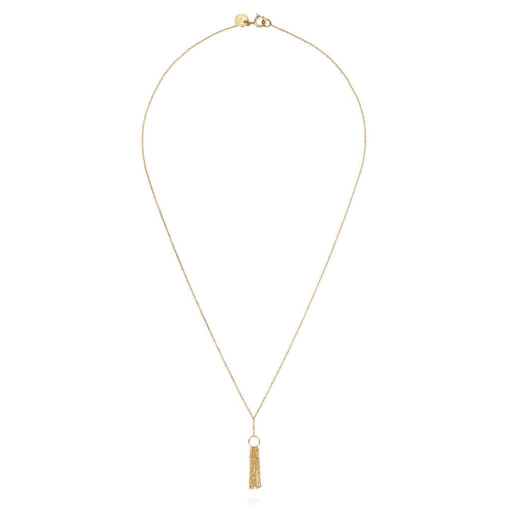 18 CT YELLOW GOLD FINE CHAIN WITH GOLD TASSEL