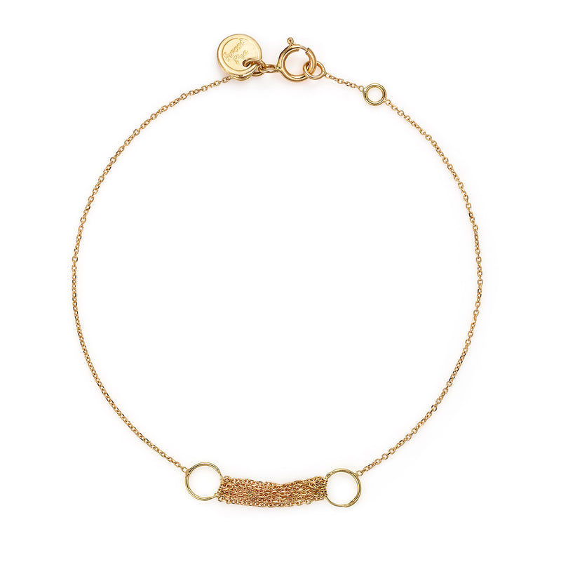 18 CT YELLOW GOLD FINE CHAIN BRACELET WITH CIRCLE AND LAYERED CHAIN SECTION