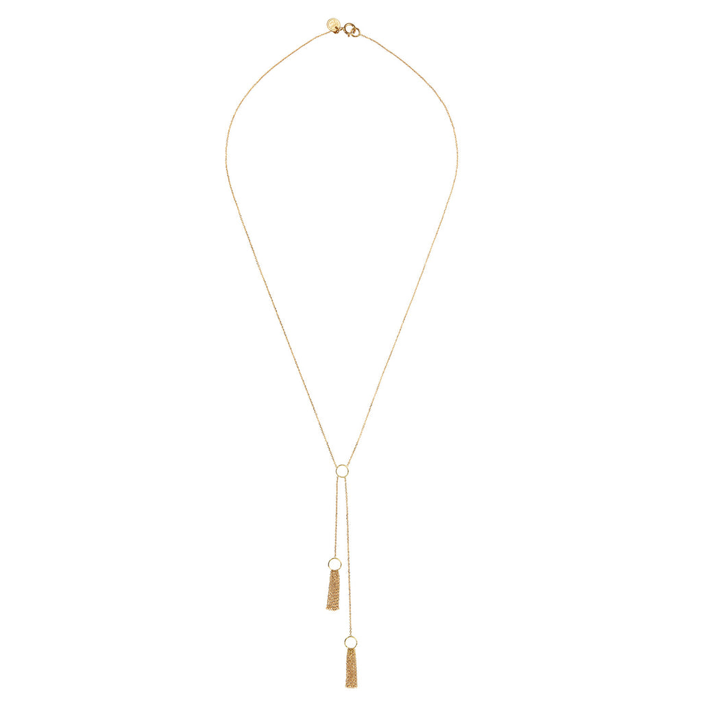18 CT YELLOW GOLD FINE CHAIN NECKLACE WITH 2 HANGING STRANDS WITH CIRCLES AND LAYERED CHAINS
