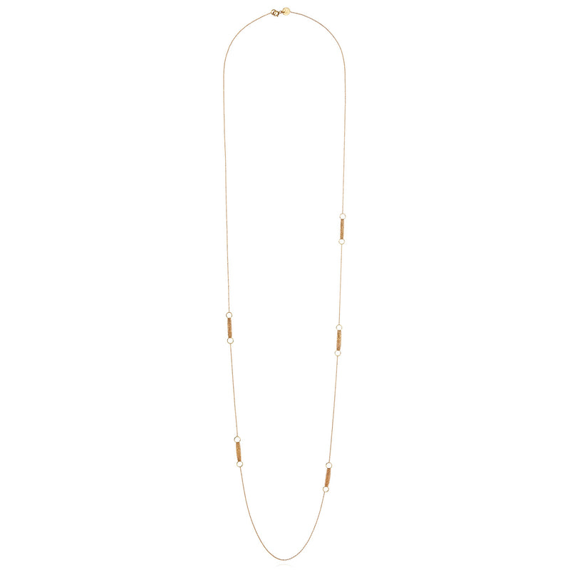 18 CT YELLOW GOLD FINE CHAIN NECKLACE WITH 5 SECTIONS OF CIRCLES AND LAYERED CHAINS