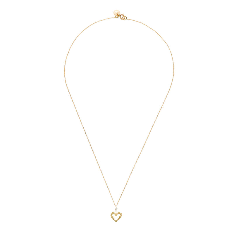 18CT YELLOW GOLD FINE CHAIN NECKLACE WITH LOVE LETTER HEART WITH DIAMOND
