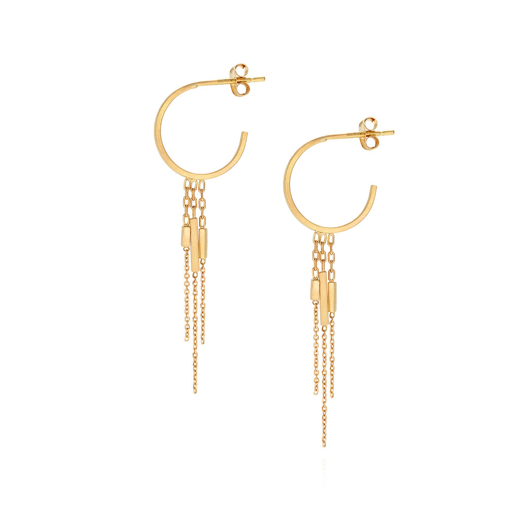 18ct yellow gold small hoop earring with hanging layered bar and chains