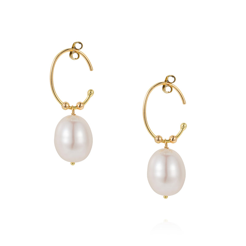Snow Drop Pearl Oval Hoops