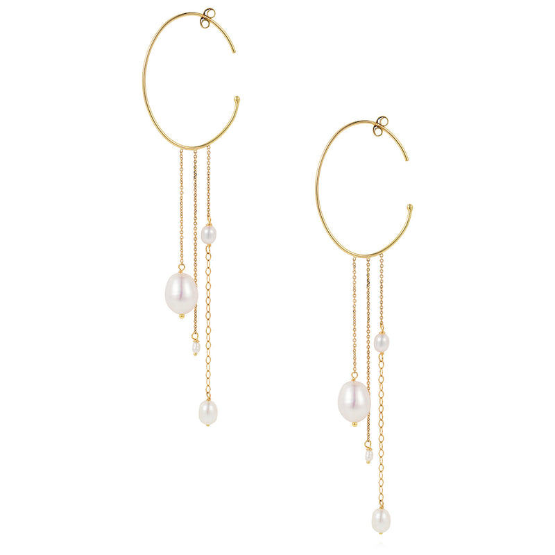 SNOW DROP PEARL OVAL HOOPS WITH HANGING CHAINS AND PEARLS