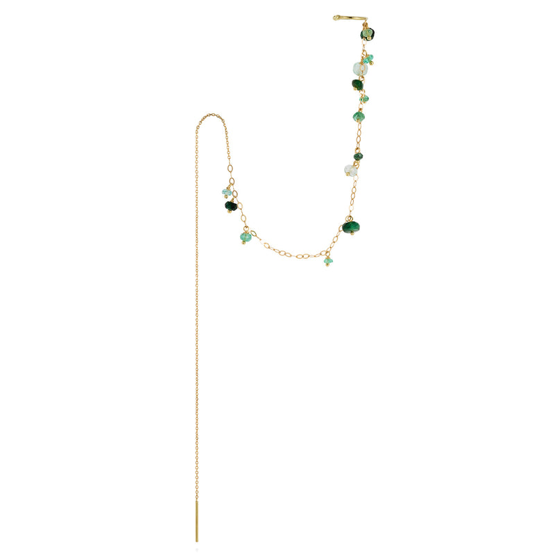 POGO PUNK EMERALD THREAD THROUGH EARRING