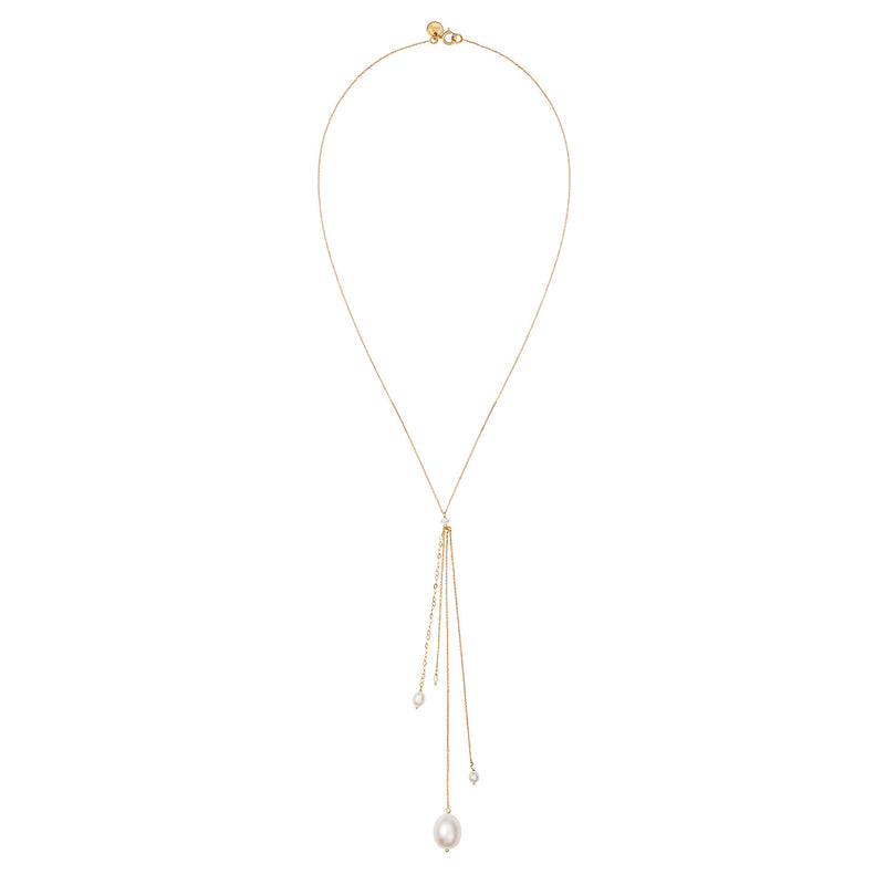 Snow Drop Pearl Lariat Necklace