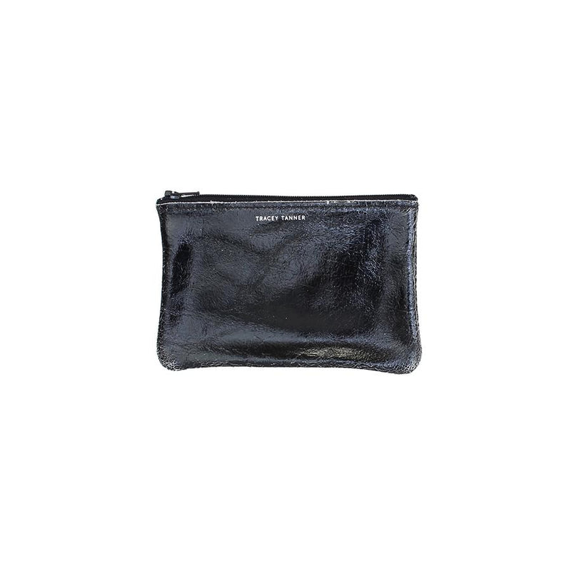 Tracy Tanner Small Flat Zip Pouch Black Foil