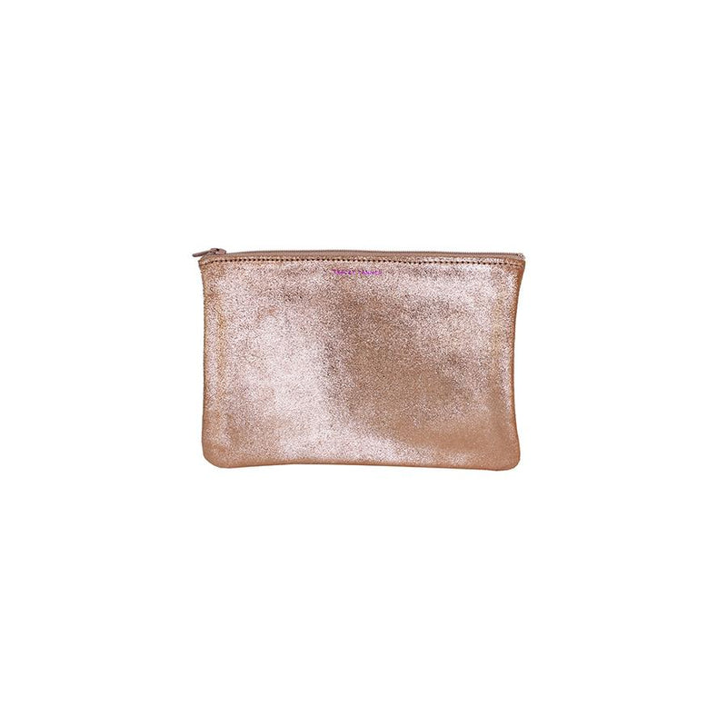 Tracy Tanner Small Flat Zip Pouch Rose Gold Sparkle