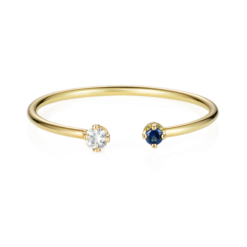 Open Blue Sapphire and Diamond Ring