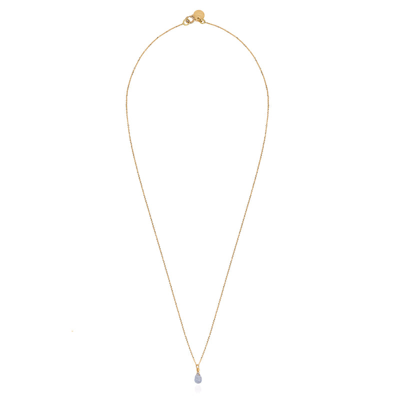 Cornflower Blue Sapphire Drop Necklace
