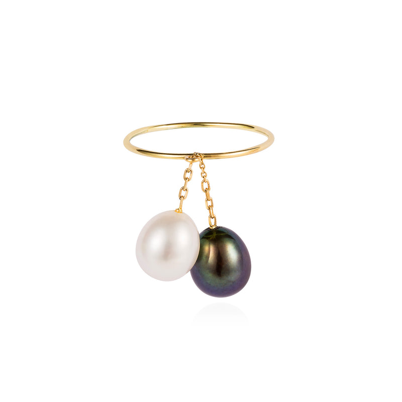 BLACK AND WHITE HANGING PEARL RING