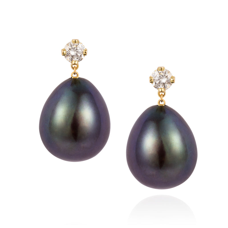 BLACK OVAL PEARL AND WHITE DIAMOND EARRINGS