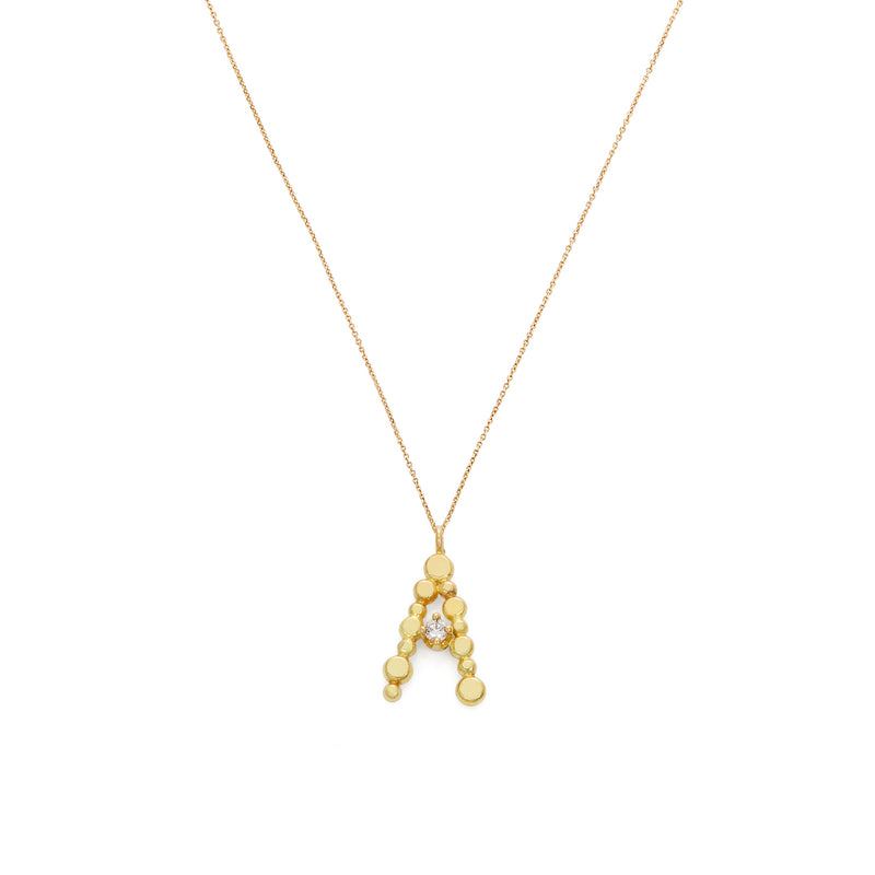 18CT YELLOW GOLD FINE CHAIN SHORT NECKLACE WITH LOVE LETTER INITIAL WITH DIAMOND