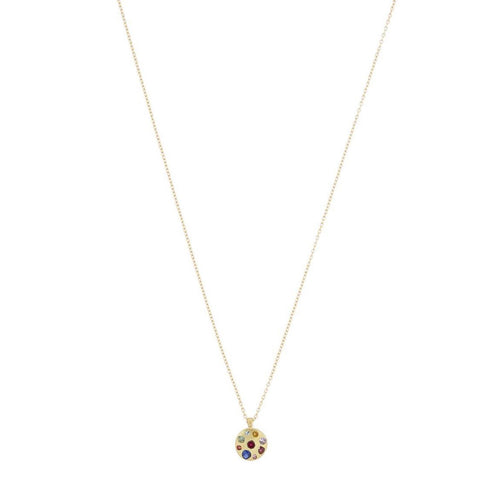 Polly Wales Celeste Crystal Medium Disc Necklace