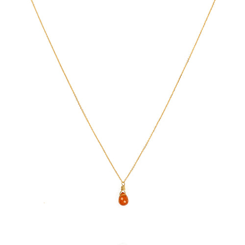 Burn Orange Sapphire Drop Necklace