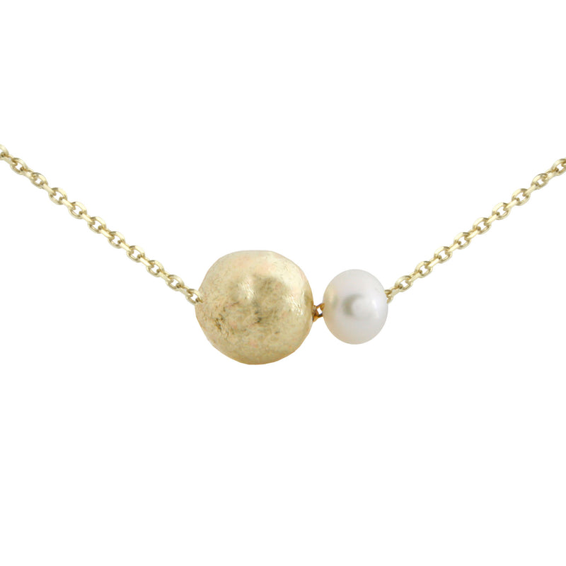 PEARL AND GOLDEN BALL SHORT NECKLACE