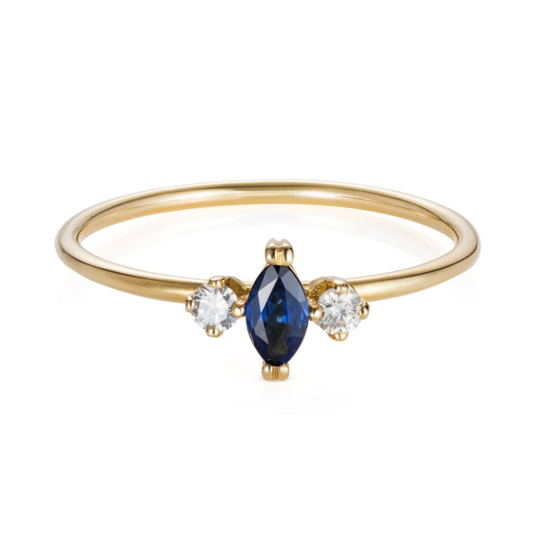 Blue Sapphire And Grey Diamonds Marquise Ring
