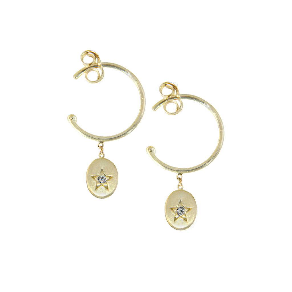 18CT YELLOW GOLD HOOPS WITH STAR SET OVAL