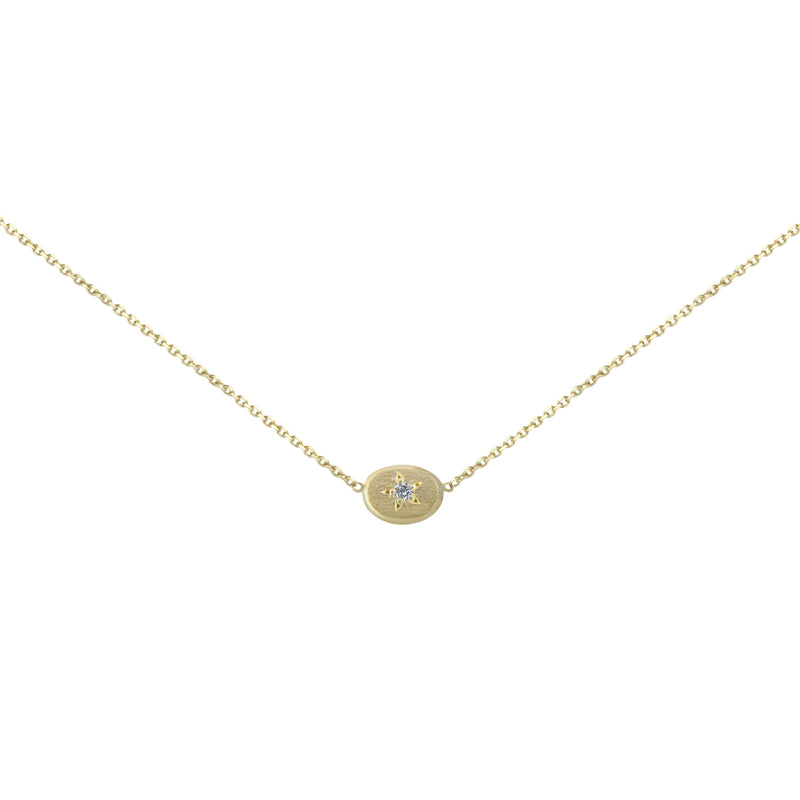 18CT GOLD NECKLACE WITH STAR SET OVAL