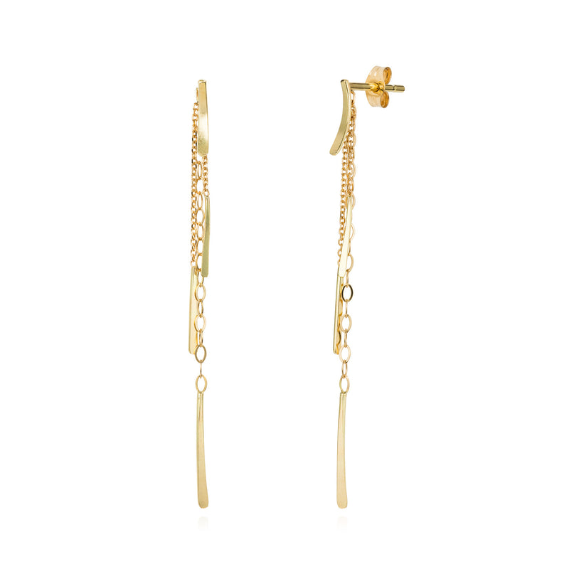 18ct yellow gold stud earring with hanging chains and bars