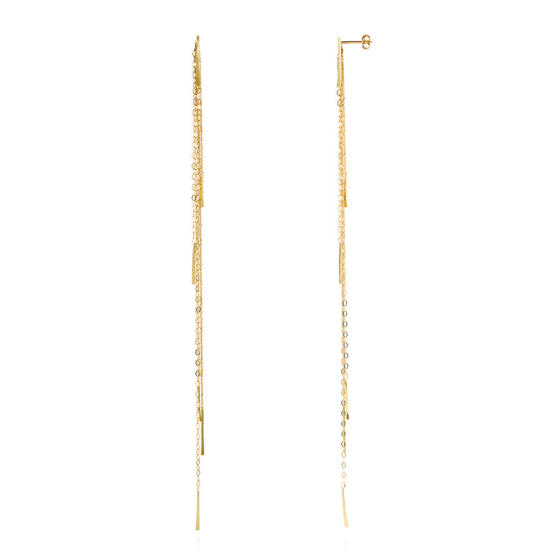 18ct yellow gold long chain studs with bar drops