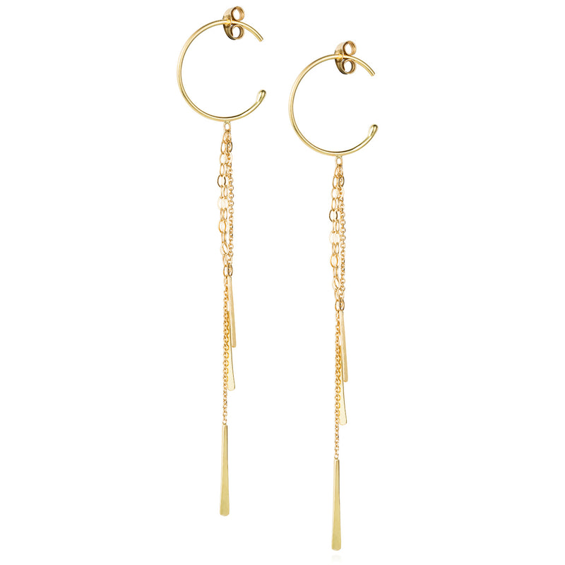 18ct yellow gold small hoop earrings with hanging chains and bars