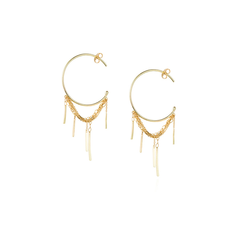 18ct gold medium hoop earring with a looped layered chain and hanging 5 bars
