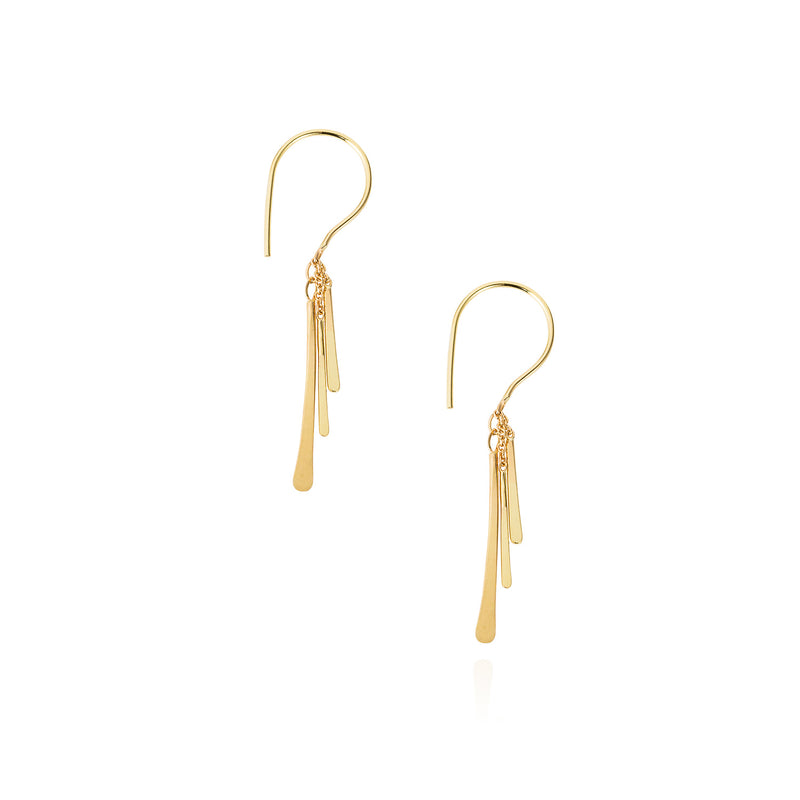 18ct yellow gold hook earrings with 3 hanging gold bars