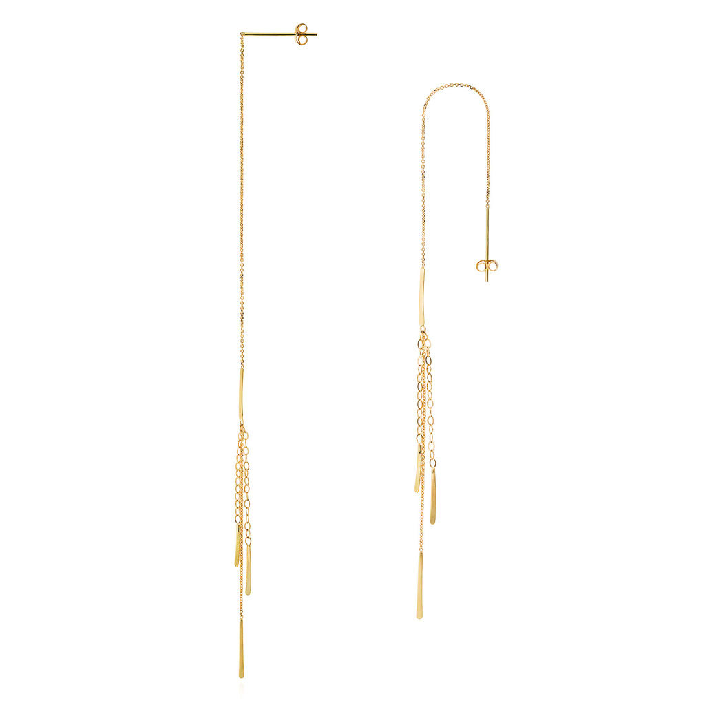18CT GOLD THREAD THROUGH EARRING WITH INSERTED AND 3 STRANDS WITH BAR DROPS