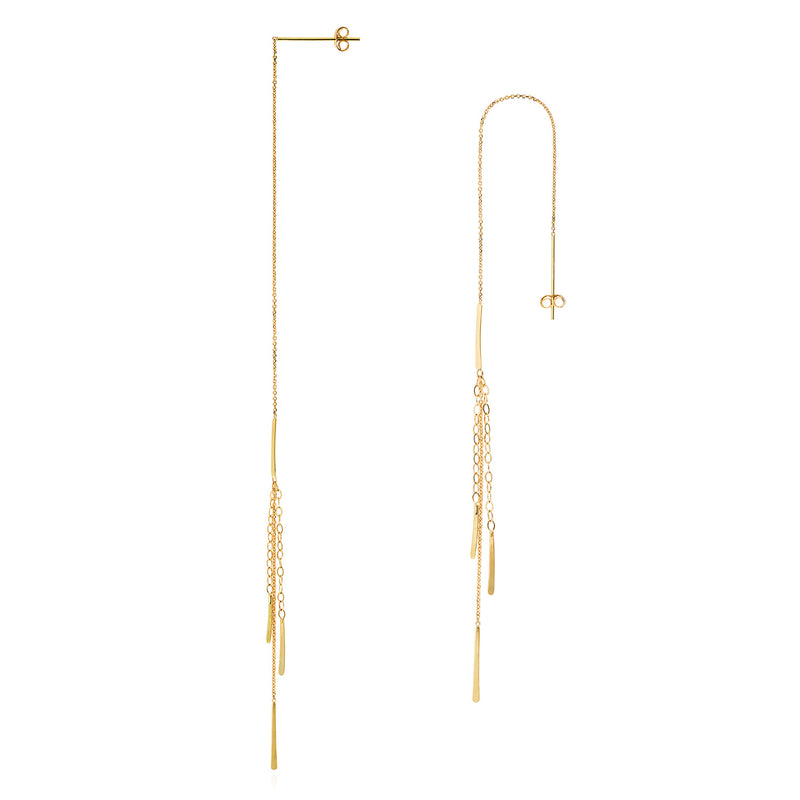 18ct gold thread through earring with inserted gold bar and 3 strands with bar drops