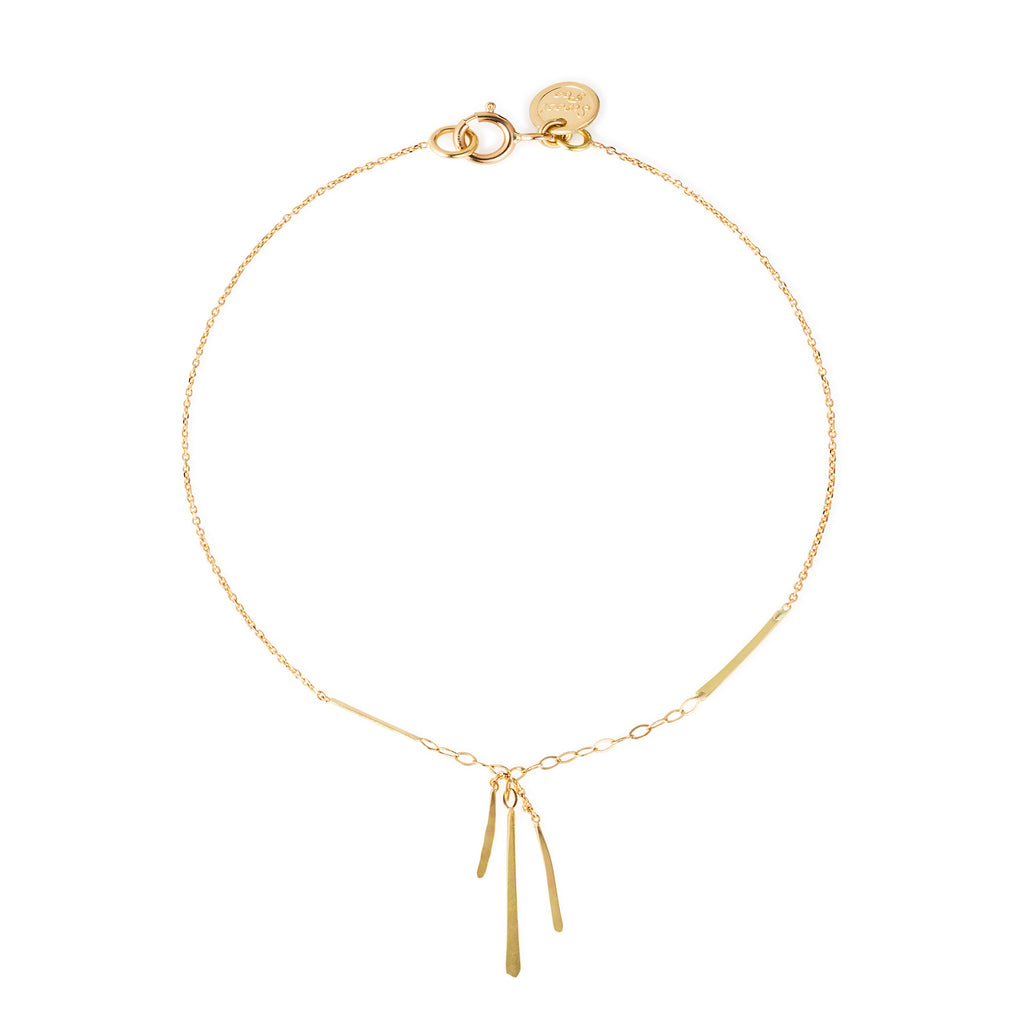 18CT GOLD FINE CHAIN BRACELET WITH HANGING BARS