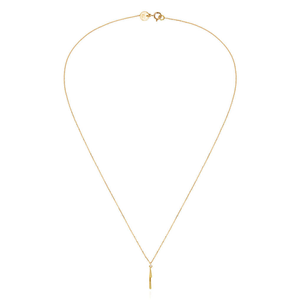 18CT GOLD FINE CHAIN NECKLACE WITH LAYERED BAR AND DIAMOND PENDANT