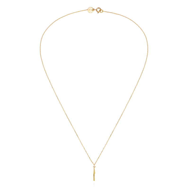 18ct gold fine chain necklace with golden bar and diamond pendant