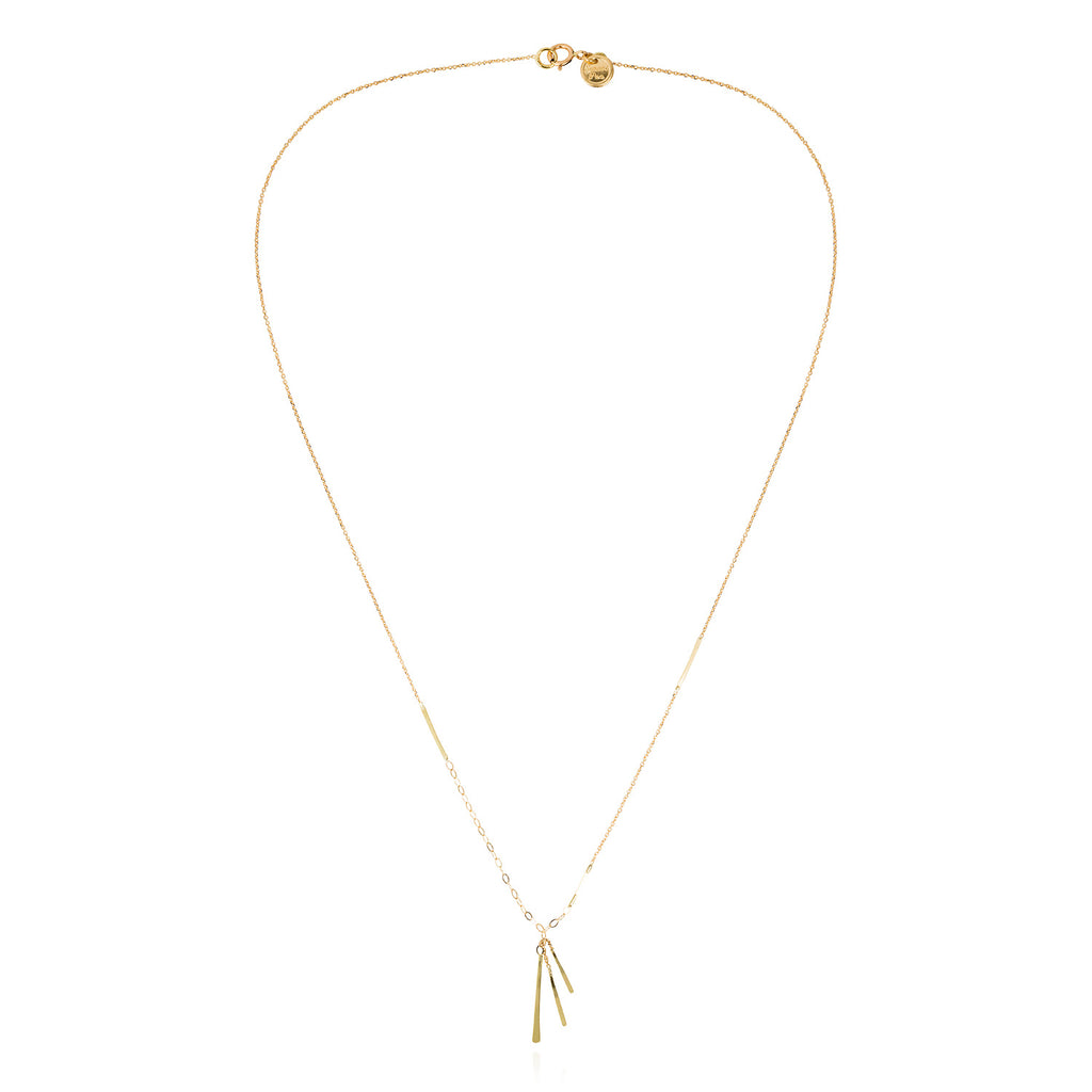 18CT GOLD FINE AND OVAL CHAIN NECKLACE WITH 3 INSERTED BARS AND 3 HANGING BARS