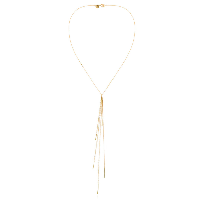 18ct gold fine chain necklace with long layered chain and hanging bar tassle