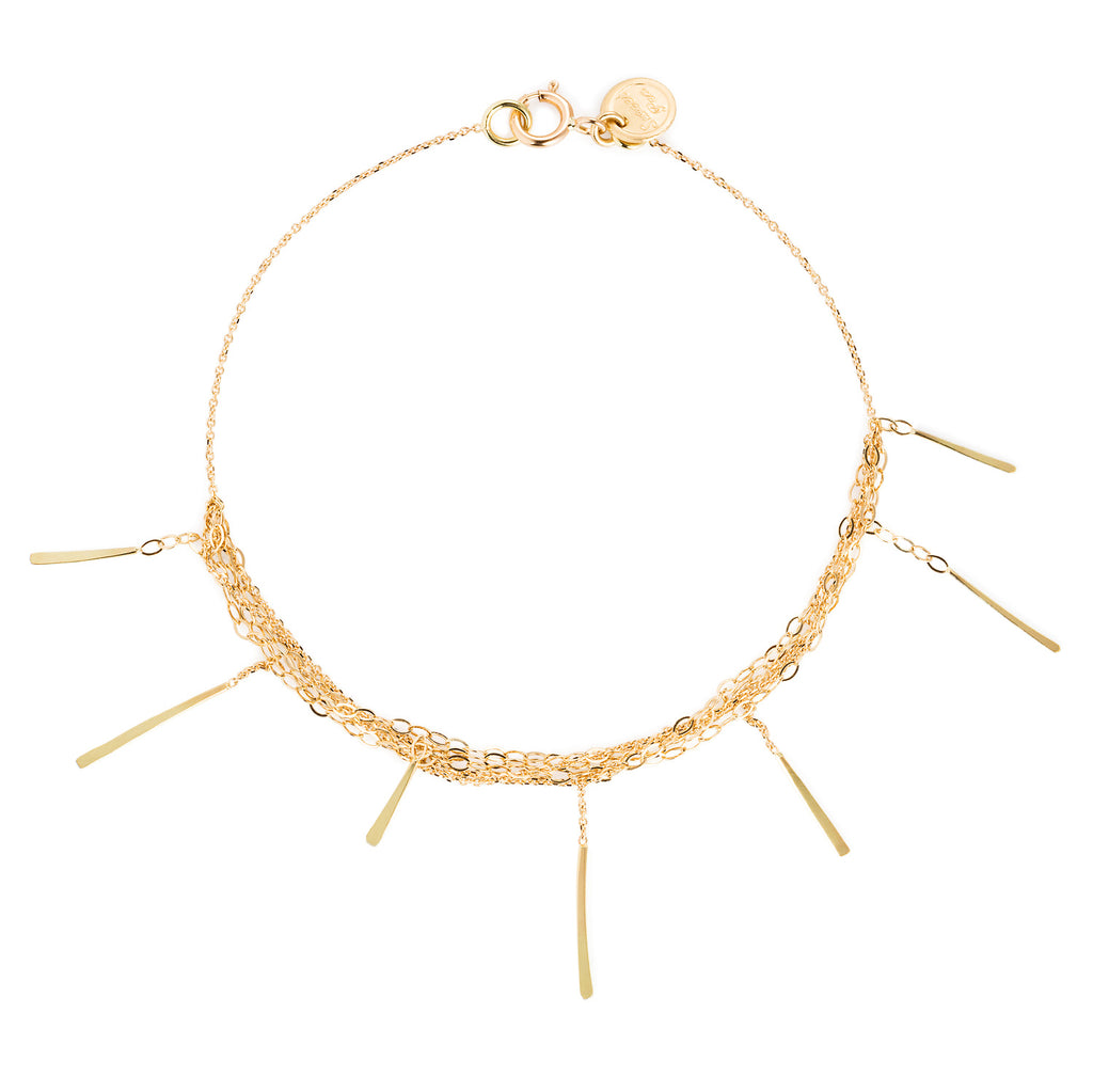 18CT GOLD LAYERED CHAIN BRACELET WITH 7 HANGING BARS