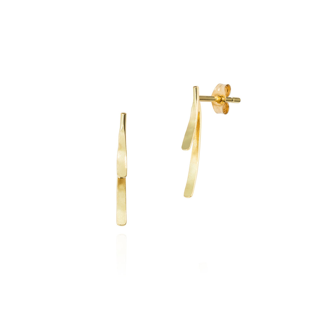 18ct gold stud earring with double bar