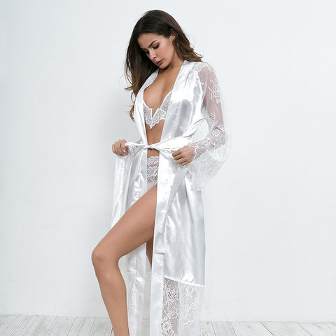 Silky Long Sleeve Nightgown Robe