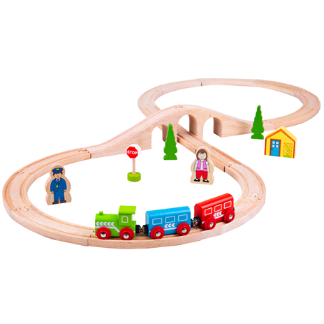 BJT Figure of Eight Wooden Train Set 43 pc