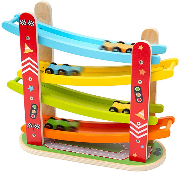 Bigjigs Toys Wooden Car Racer | Wood Race Track Ramp