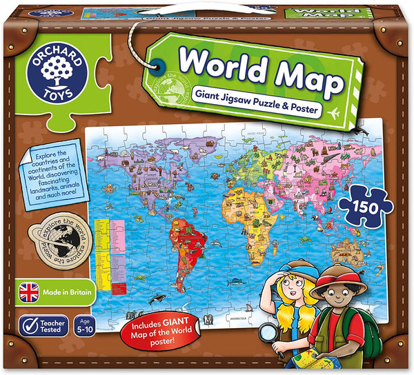 Orchard Toys World Map 150-piece Puzzle and Poster | Age 5+