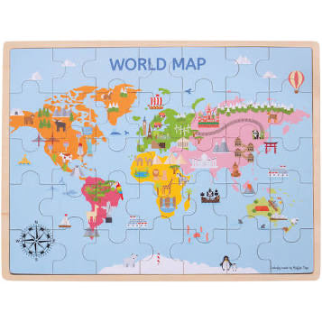 BIgjigs Toys 35pc Wooden World Map Puzzle
