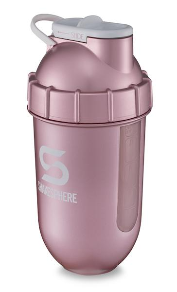 700mls ShakeSphere Tumbler View Rose Gold/White Logo/Clear Window