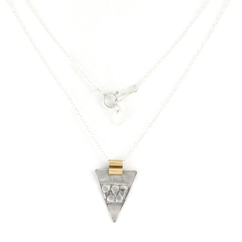 Silver & 14K Gold Filled Triangular Pendent Necklace