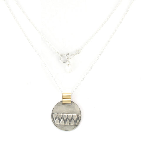 Silver & 14K Gold Filled Circular Pendent Necklace