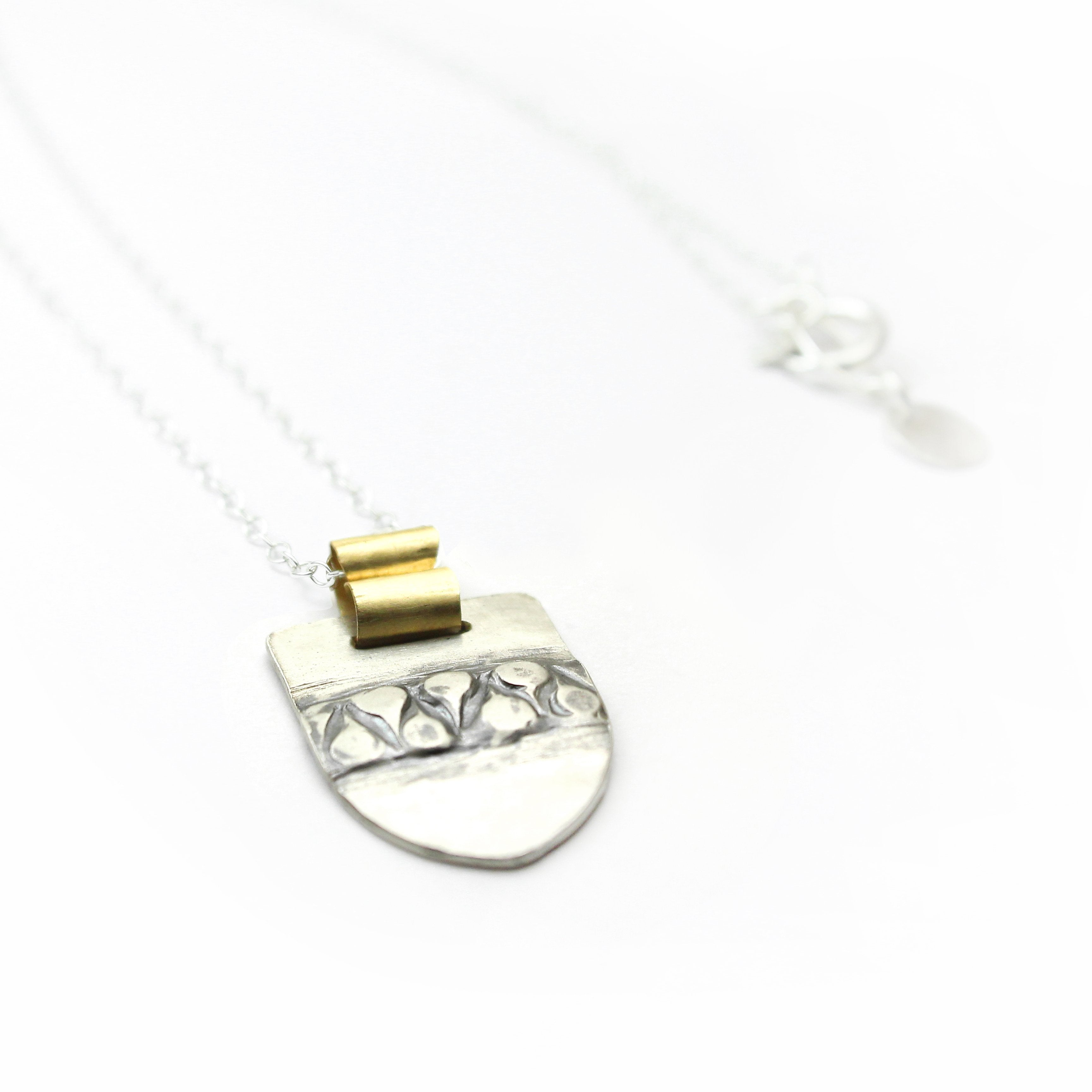 Silver & Gold filled Geometric Pendent Necklace - Shulamit Kanter