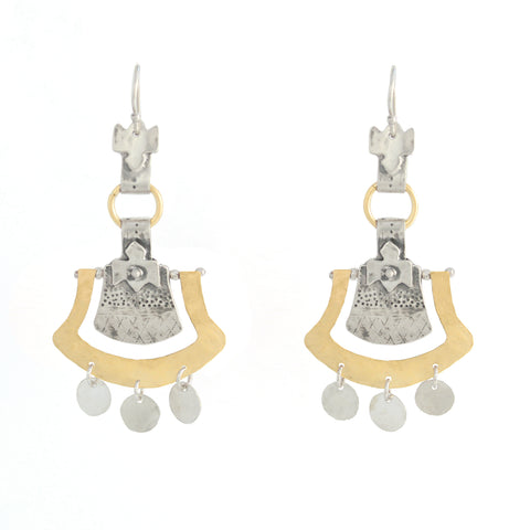 Western Moroccan Style Silver & Goldfield Large Earrings